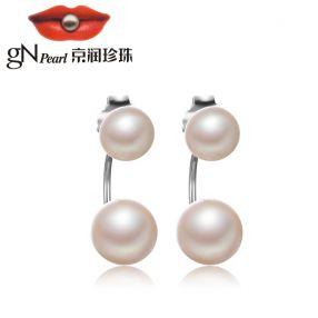 京润【雅容】5-9mm时尚亮泽 S925银镶白色淡水珍珠耳钉耳环